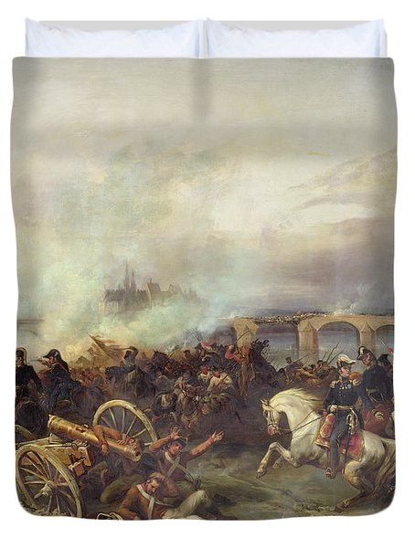 Battle Of Montereau Duvet Cover by Jean Charles Langlois