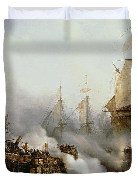 Battle Of Trafalgar Duvet Cover by Louis Philippe Crepin