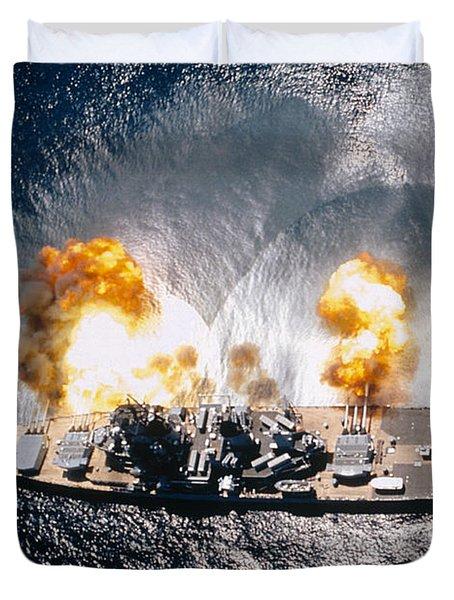 Battleship Iowa Firing All Guns Duvet Cover by Stocktrek Images