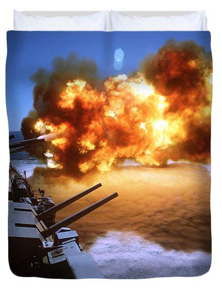Battleship Uss Missouri Fires One Duvet Cover by Stocktrek Images