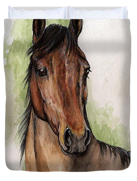 Bay Horse Portrait Watercolor Painting 02 2013 Duvet Cover by Angel  Tarantella