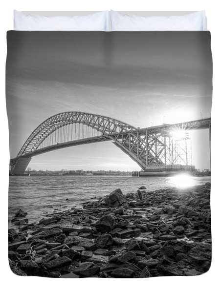 Bayonne Bridge Black And White Duvet Cover by Michael Ver Sprill