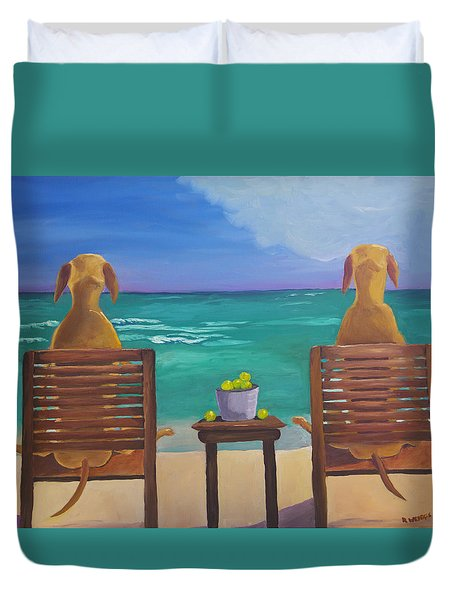 Beach Blondes Duvet Cover by Roger Wedegis