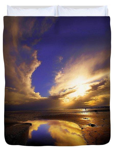 Beach Sunset Duvet Cover by Svetlana Sewell