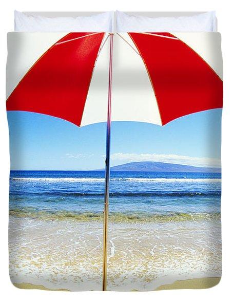 Beach Umbrella Duvet Cover by Carl Shaneff - Printscapes