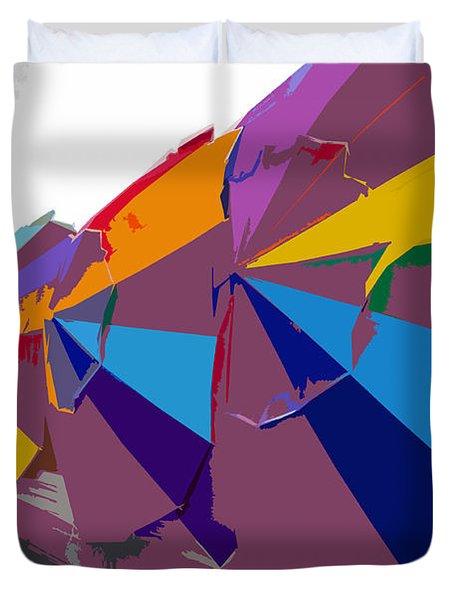 Beach Umbrella Row Duvet Cover by David Lee Thompson