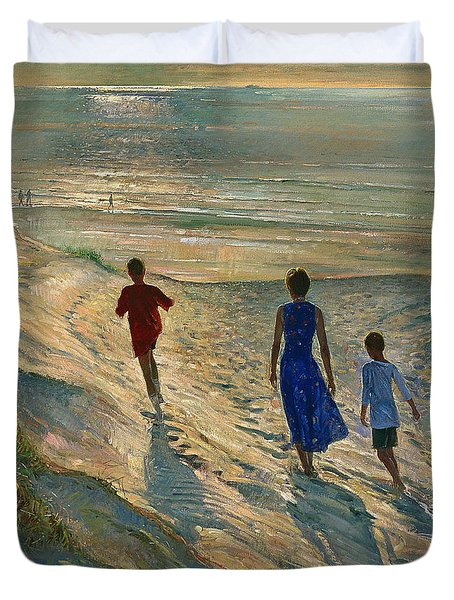 Beach Walk Duvet Cover by Timothy Easton