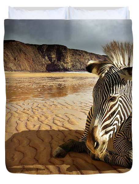 Beach Zebra Duvet Cover by Carlos Caetano