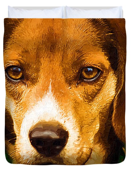 Beagle Hound Dog In Oil Duvet Cover by Kathy Clark