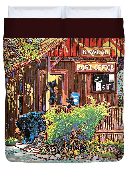 Bear Post Duvet Cover by Nadi Spencer