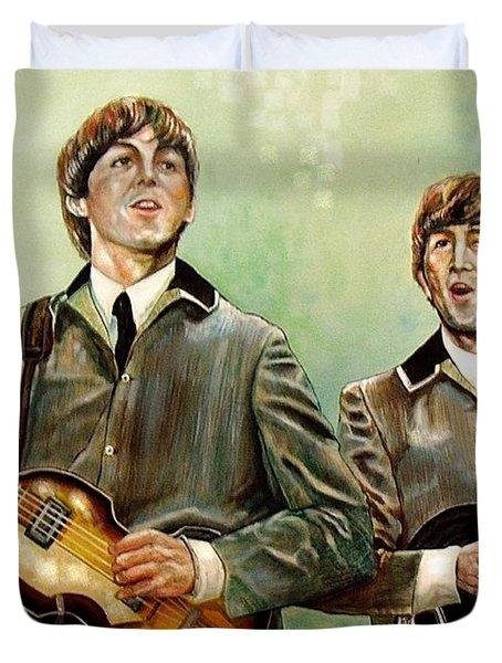 Beatles Paul And John Duvet Cover by Leland Castro