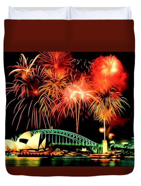Beautiful Colorful Holiday Fireworks 2 Duvet Cover by Lanjee Chee