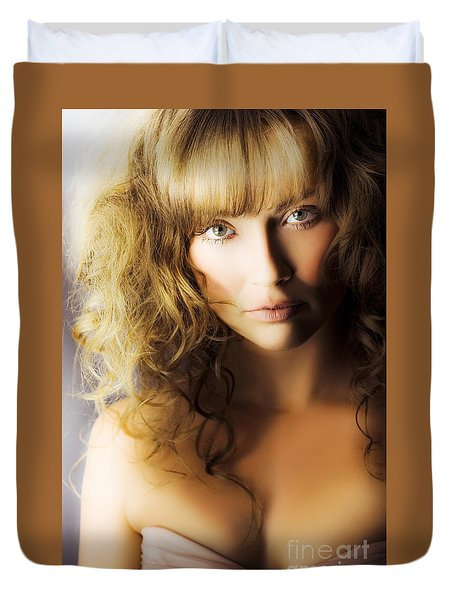 Beautiful fashion model Duvet Cover by Ryan Jorgensen