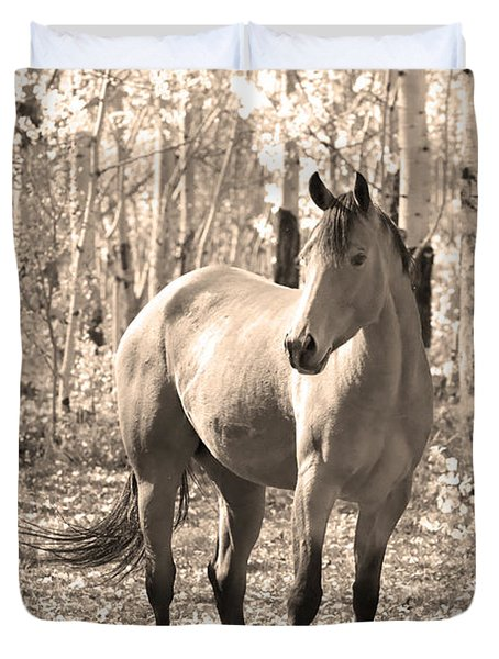 Beautiful Horse In Sepia Duvet Cover by James BO  Insogna