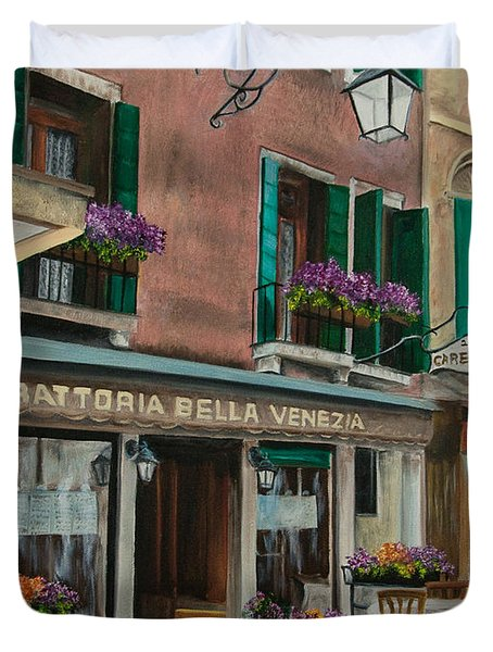 Beautiful Restaurant In Venice Duvet Cover by Charlotte Blanchard