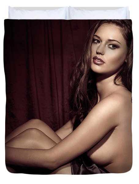 Beautiful Young Woman Sitting Naked In Bed Duvet Cover by Oleksiy Maksymenko