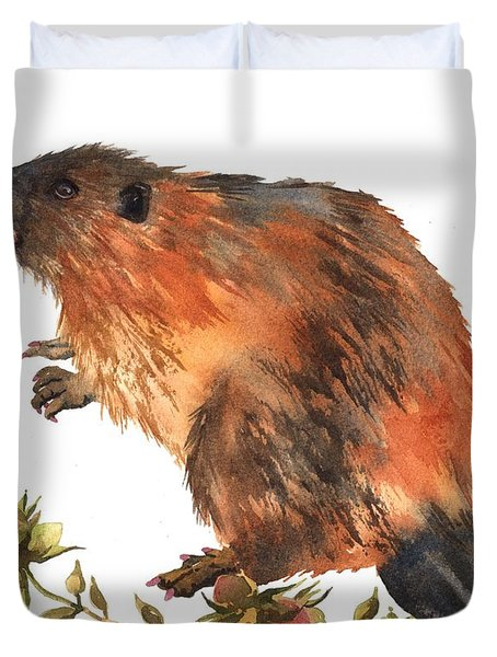 Beaver Painting Duvet Cover by Alison Fennell