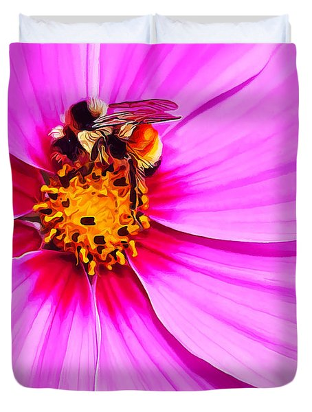 Bee On Pink Duvet Cover by Bill Caldwell -        ABeautifulSky Photography
