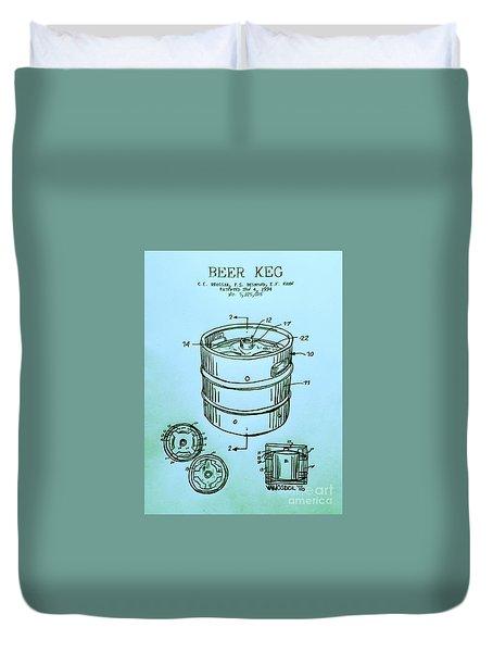 Beer Keg 1994 Patent - Blue Duvet Cover by Scott D Van Osdol