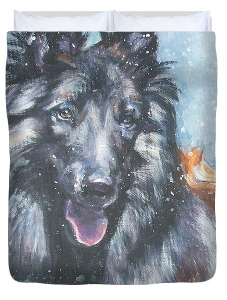 Belgian Tervuren in snow Duvet Cover by Lee Ann Shepard