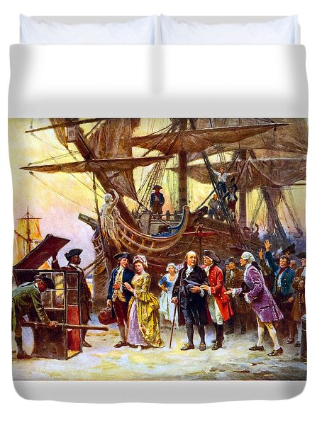Ben Franklin Returns To Philadelphia Duvet Cover by War Is Hell Store