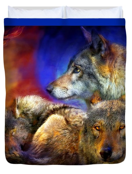 Beneath A Blue Moon Duvet Cover by Carol Cavalaris