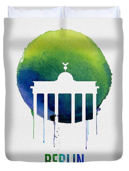 Berlin Landmark Blue Duvet Cover by Naxart Studio