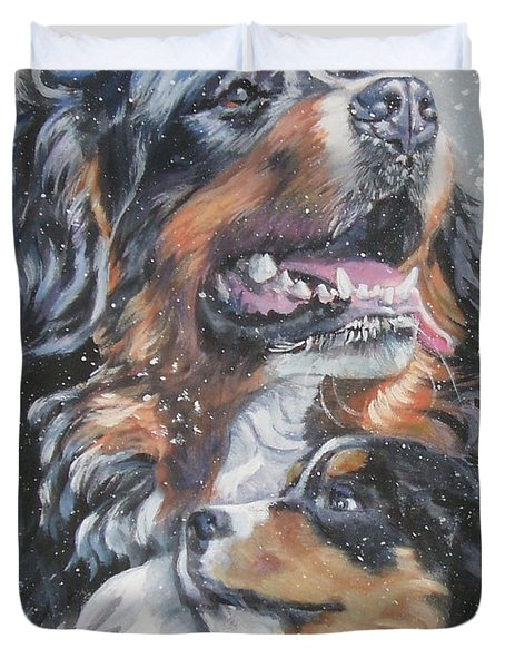 Bernese Mountain Dog With Pup Duvet Cover by L A Shepard