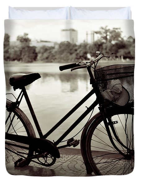 Bicycle by the Lake Duvet Cover by Dave Bowman