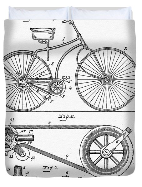 Bicycle Patent 1890 Duvet Cover by Bill Cannon