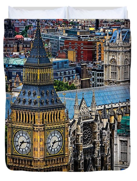 Big Ben And Westminster Abbey Duvet Cover by Chris Lord
