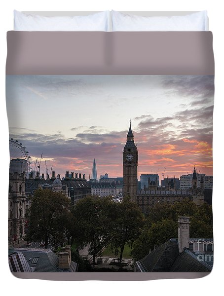 Big Ben London Sunrise Duvet Cover by Mike Reid