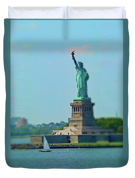 Big Statue, Little Boat Duvet Cover by Sandy Taylor