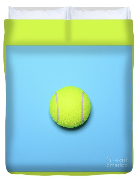 Big Tennis Ball On Blue Background - Trendy Minimal Design Top V Duvet Cover by Aleksandar Mijatovic