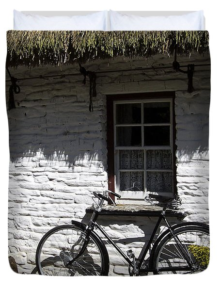 Bike At The Window County Clare Ireland Duvet Cover by Teresa Mucha