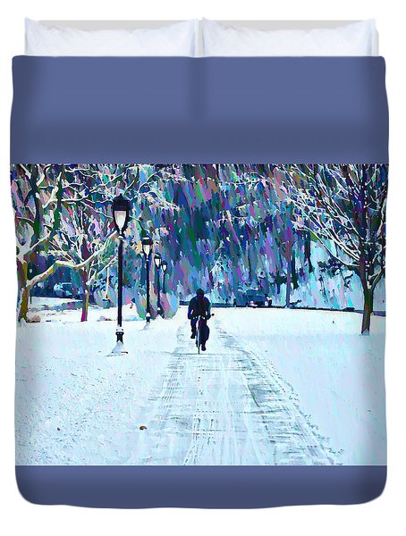 Bike Riding In The Snow Duvet Cover by Bill Cannon