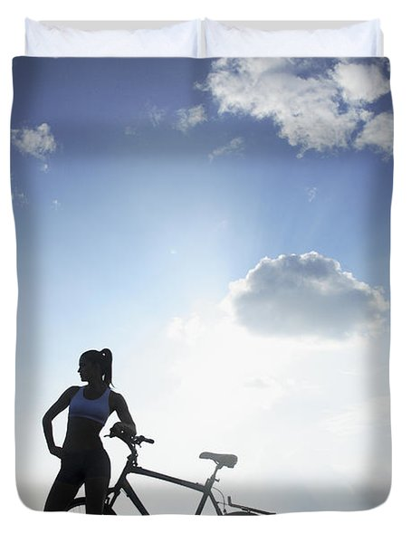 Biking Silhouette Duvet Cover by Brandon Tabiolo - Printscapes
