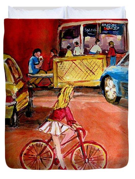 Biking To The Orange Julep Duvet Cover by Carole Spandau