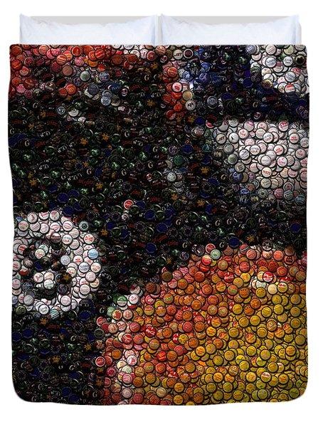 Billiard Ball Bottle Cap Mosaic Duvet Cover by Paul Van Scott