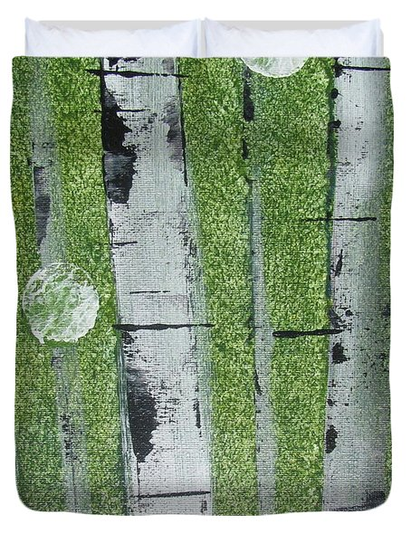 Birch - Green 1 Duvet Cover by Jacqueline Athmann