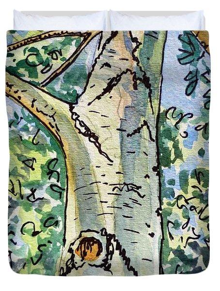 Birch Tree Sketchbook Project Down My Street Duvet Cover by Irina Sztukowski