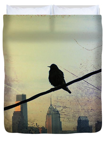Bird On A Wire Duvet Cover by Bill Cannon