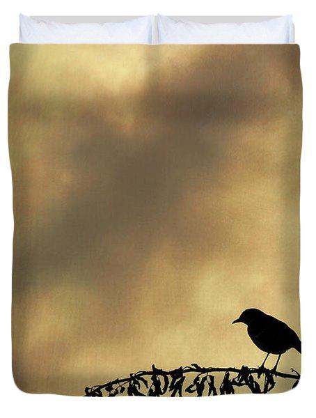 Bird On Branch Montage Duvet Cover by Dave Gordon