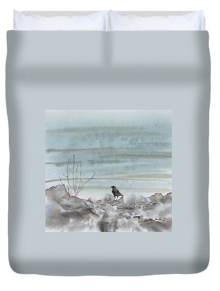 Bird On The Shore Duvet Cover by Carolyn Doe