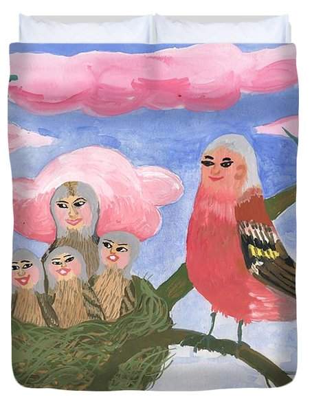 Bird people The Chaffinch Family Duvet Cover by Sushila Burgess