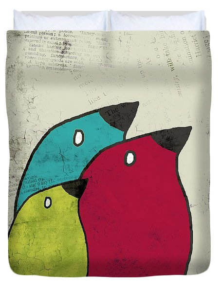 Birdies - V101s1t Duvet Cover by Variance Collections