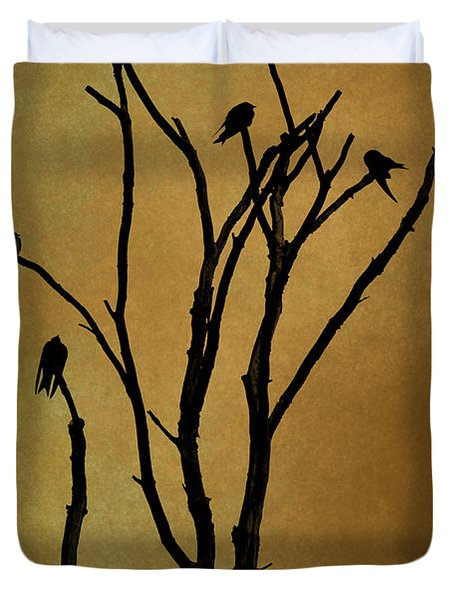 Birds In Tree Duvet Cover by David Gordon