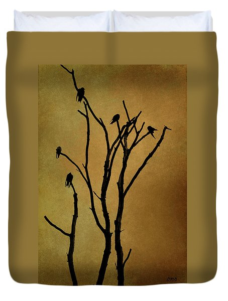 Birds In Tree Duvet Cover by Dave Gordon