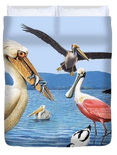 Birds With Strange Beaks Duvet Cover by R B Davis