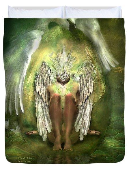 Birth Of A Swan Duvet Cover by Carol Cavalaris